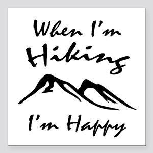 "Hiking (Black) Square Car Magnet 3"" x 3"""
