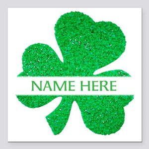 "Custom Name Shamrock Square Car Magnet 3"" x 3"""