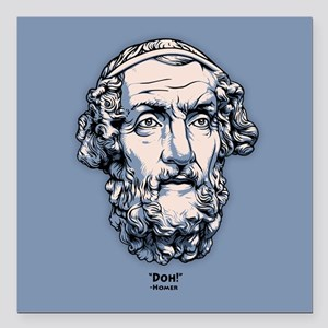 "Ancient Greeks -Homer Square Car Magnet 3"" x 3"""