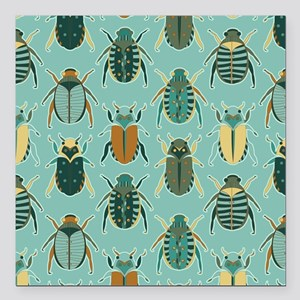 Scarab Beetle Pattern Blue and Brown Square Car Ma