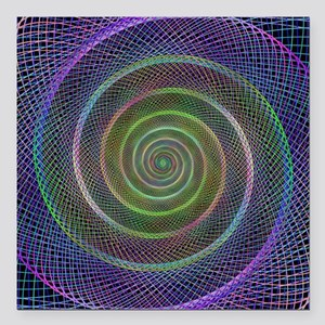 "Psychedelic Webbed Spiral Square Car Magnet 3"" x 3"