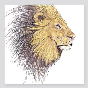 "Lions Head Square Car Magnet 3"" x 3"""