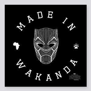 "Black Panther Made Square Car Magnet 3"" x 3"""