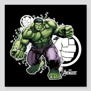 "Avengers Hulk Fists Square Car Magnet 3"" x 3"""
