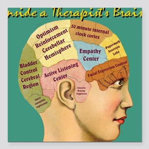 "Inside a Therapists Brai Square Car Magnet 3"" x 3"""