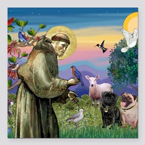 "57-StFrPugPr Square Car Magnet 3"" x 3"""