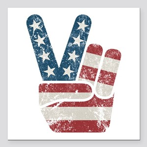 "Peace Sign USA Vintage Square Car Magnet 3"" x 3"""