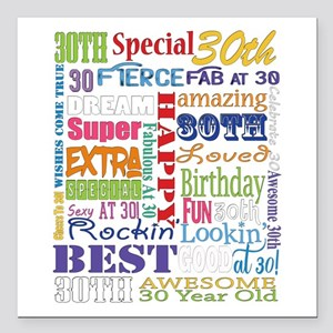 "30th Birthday Typography Square Car Magnet 3"" x 3"""