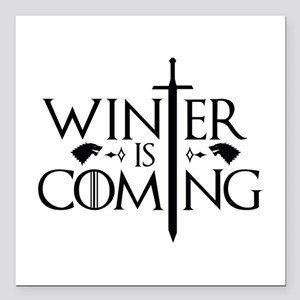 "Winter Is Coming Square Car Magnet 3"" x 3"""