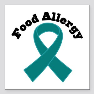 "Food Allergy Teal Ribbon Square Car Magnet 3"" x 3"""