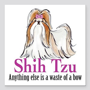 "Shih Tzu Bow Square Car Magnet 3"" X 3"""