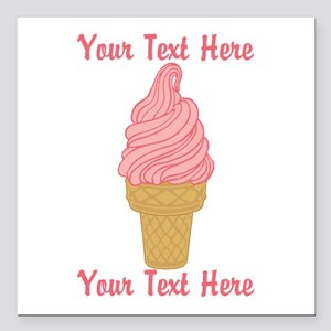 "Personalized Pink Ice Cr Square Car Magnet 3"" x 3"""