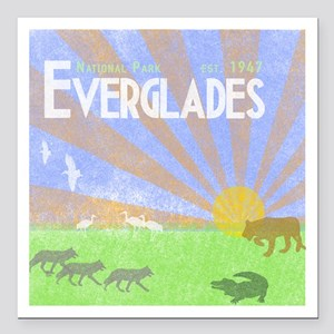"Florida Everglades Natio Square Car Magnet 3"" x 3"""