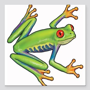 "Green Frog Square Car Magnet 3"" x 3"""