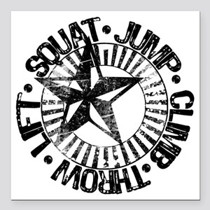 "squat_jump_climb_throw_l Square Car Magnet 3"" x 3"""