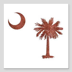 "Palmetto & Cresent Moon Square Car Magnet 3"" x 3"""