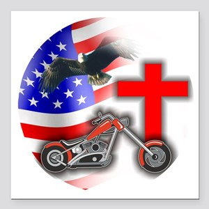 "BIKER FLAG 3 Square Car Magnet 3"" x 3"""