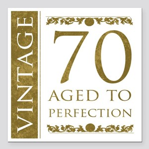 "Fancy Vintage 70th Birth Square Car Magnet 3"" x 3"""
