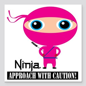 "Girl-Ninja Square Car Magnet 3"" x 3"""