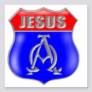 "JESUS AO SIGN Square Car Magnet 3"" x 3"""