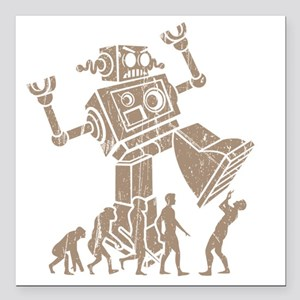 "2-robotV2 Square Car Magnet 3"" x 3"""