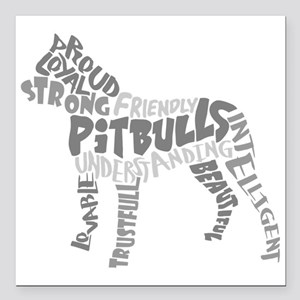 "Pit Bull Word Art Greysc Square Car Magnet 3"" x 3"""