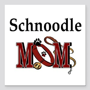 "Schnoodle Mom Square Car Magnet 3"" x 3"""
