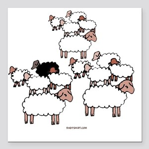 "Black Sheep Square Car Magnet 3"" x 3"""