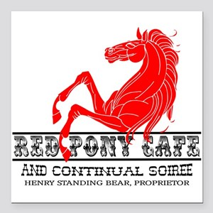 "Red Pony Cafe Square Car Magnet 3"" x 3"""