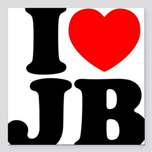 "I Love Jam Bands Square Car Magnet 3"" x 3"""