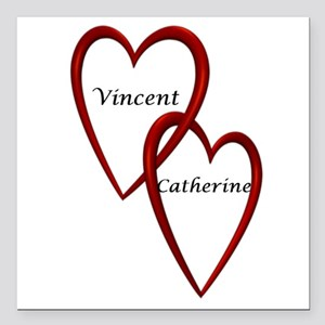 Vincent and Catherine Two Hearts Square Car Magnet