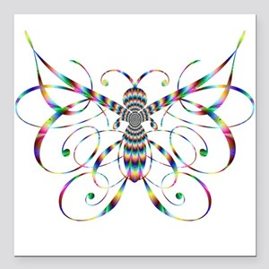 "Rainbow Butterfly Square Car Magnet 3"" x 3"""