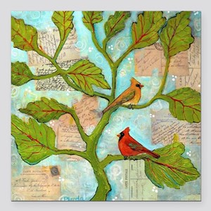 "Cardinal Love Notes Square Car Magnet 3"" x 3"""