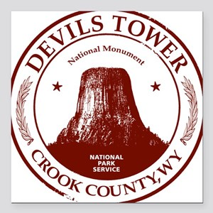 "Devils Tower W Square Car Magnet 3"" x 3"""