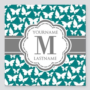 "Teal and Gray Butterfly Square Car Magnet 3"" x 3"""