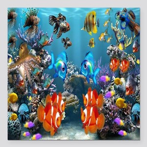 "Under the Sea Square Car Magnet 3"" x 3"""