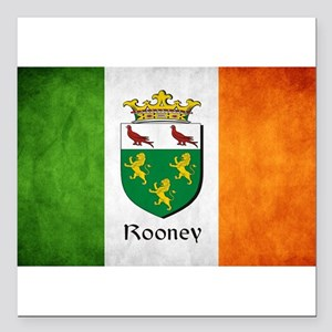 "Rooney Irish Flag Square Car Magnet 3"" x 3"""