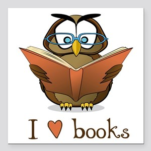 "Book Owl I Love Books Square Car Magnet 3"" x 3"""