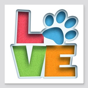 "Puppy Love II Square Car Magnet 3"" x 3"""