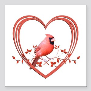 "Cardinal in Heart Square Car Magnet 3"" x 3"""