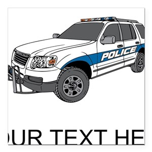 Police Car (Custom) Square Car Magnet 3