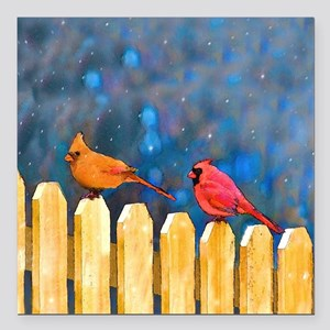 "Cardinals on the Fence Square Car Magnet 3"" x 3"""