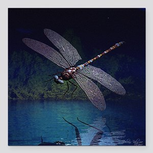 "dragonfly10asq Square Car Magnet 3"" x 3"""