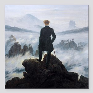 Caspar David Friedrich Wanderer Square Car Magnet