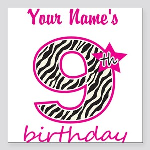 "9th Birthday - Personalized Square Car Magnet 3"" x"