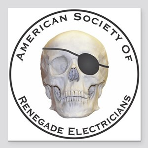 "Renegade Electricians Square Car Magnet 3"" x 3"""
