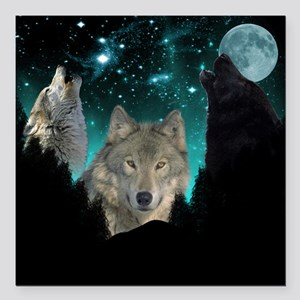 "Wolves Twilight Square Car Magnet 3"" x 3"""