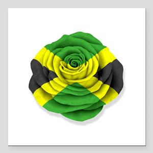 "Jamaican Rose Flag on White Square Car Magnet 3"" x"