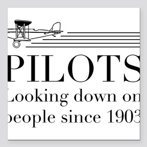 "Pilots looking down people Square Car Magnet 3"" x"
