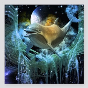 "Dolphin in the universe Square Car Magnet 3"" x 3"""
